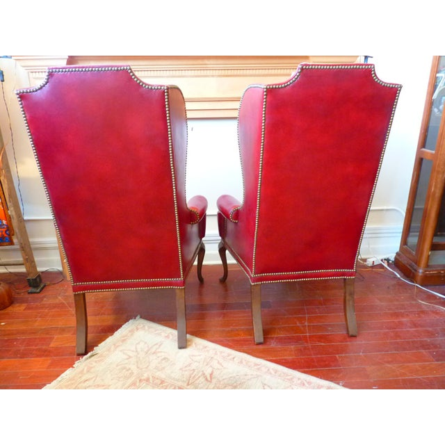 Vintage Red Leather Wingback Chairs With Nailhead Detail and Generous Proportions- Pair For Sale - Image 11 of 13