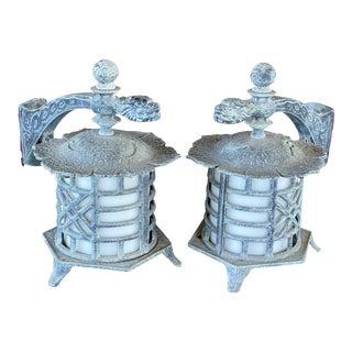 Vintage Hanover Verdigris Pagoda Dragon Lanterns-A Pair For Sale