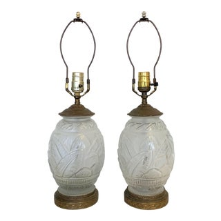 Vintage 1930s Lalique Style Frosted Glass and Brass Lamps - a Pair For Sale