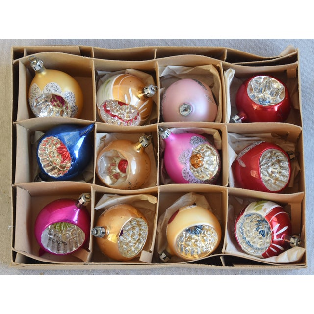 Midcentury Fancy & Colorful Christmas Ornaments W/Box - Set of 12 For Sale - Image 4 of 9