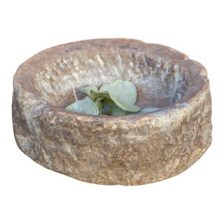 Aged Petite Carved Stone Kharal Mortar For Sale