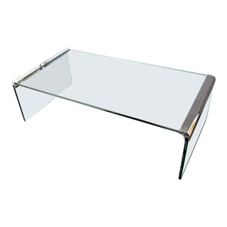 Mid Century Modern Pace Waterfall Coffee Table Chrome & Glass 1970s For Sale