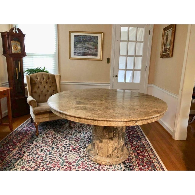 Beautiful round marble pedestal table for dining, grand entry or centerpiece of a room. The heavy 3/4 » thick marble top...