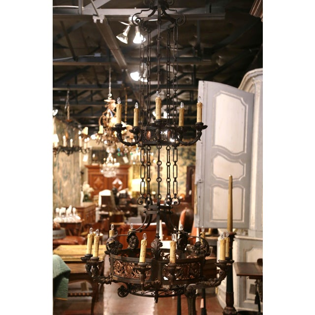 19th Century French Gothic Iron and Copper Two-Tier Fifteen Light Chandelier For Sale In Dallas - Image 6 of 11