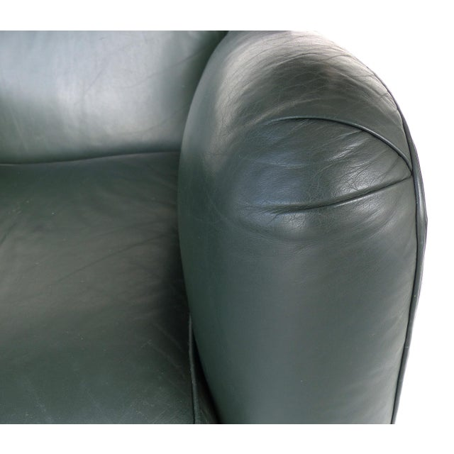 Black Donghia Leather Club Chairs From the Main Street Collection in Forest Green For Sale - Image 8 of 9