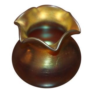 Signed Steuben Gold Aurene Ruffled Vase For Sale
