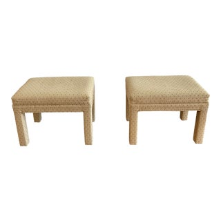 Parsons Style Polka Dot Upholstered Benches - a Pair For Sale