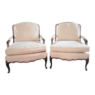 Pair of Off White Bergere Chairs Arm Chairs Cherry Hardwood Frame