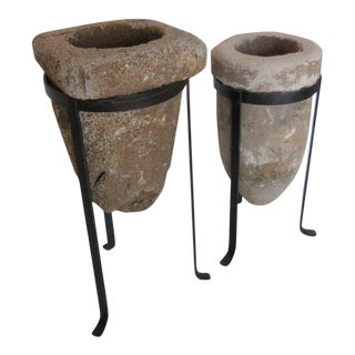 Pair of 19th Century Stone Water Filters on Bases For Sale