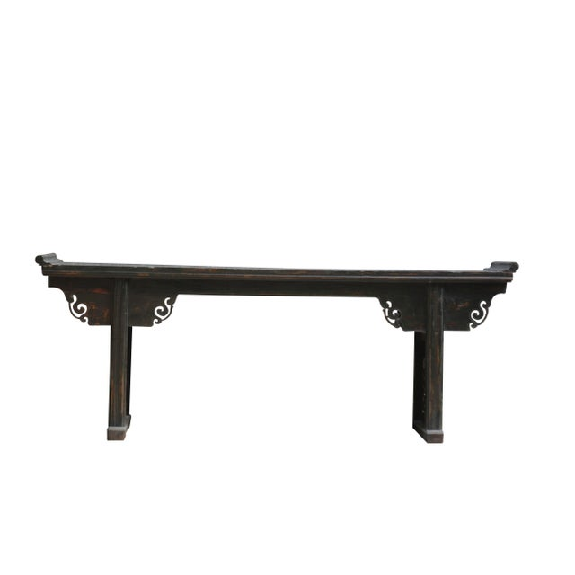 Asian Antique Chinese Elm Altar Console Table For Sale - Image 3 of 10