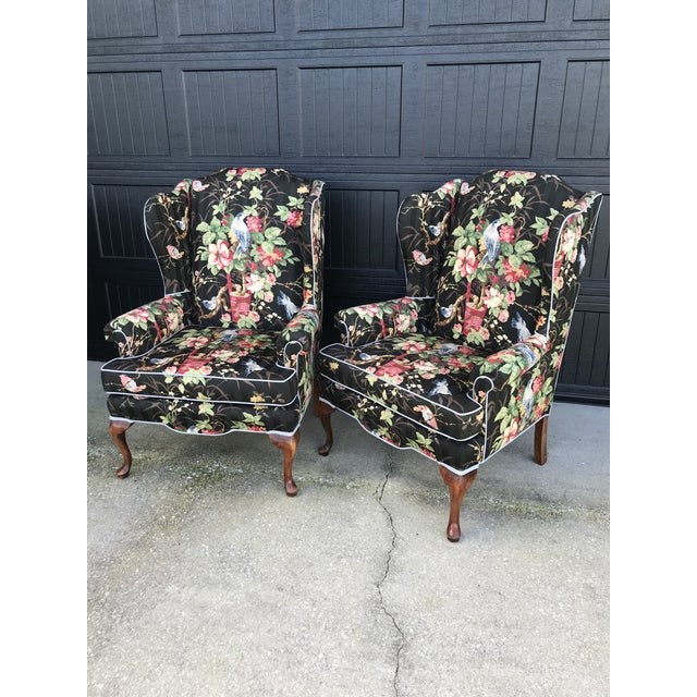 Chinoiserie Upholstered Wing Bach Chairs For Sale - Image 11 of 13