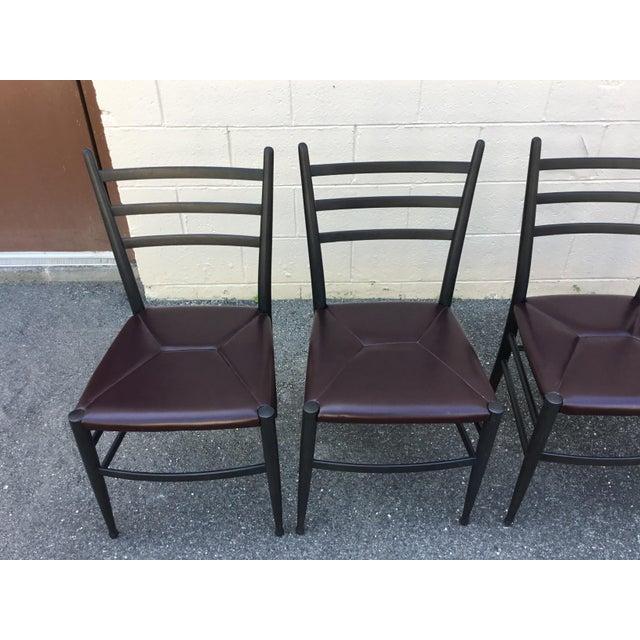 Mid_Century Modern Italian dining side chairs in the style of Gio Ponti Superleggera Newly refinished. Original Rush...