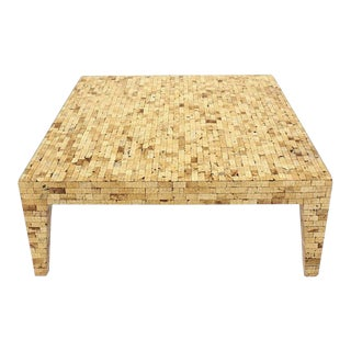 Vintage Mid Century Rectangle Faux Egg Shell Coffee Table For Sale
