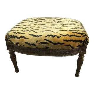 "Antique French Ottoman With Scalamandre ""Le Tigre"" Upholstery"