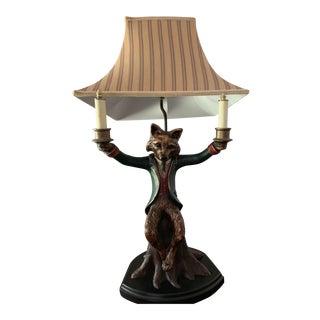 Bill Huebbe Lamp Fox Sitting on a Tree Stump Candelabra Lamp For Sale