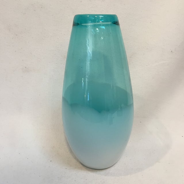 Turquoise Beautiful Large Teal Glass Vase For Sale - Image 8 of 8