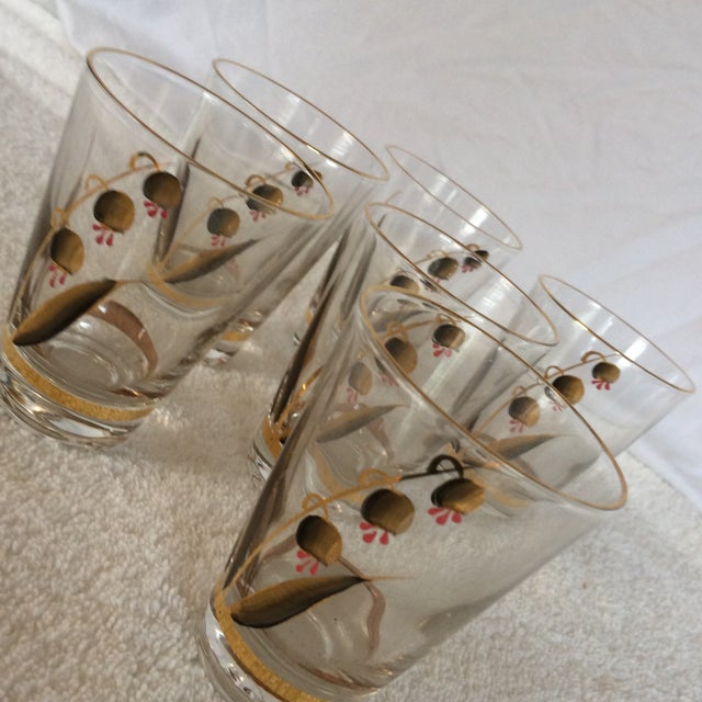 Beautiful Mid-Century Modern Hand Blown & Hand Painted With 22 Kt Gold Coral Bells Floral Design - Set of 6 For Sale - Image 12 of 13
