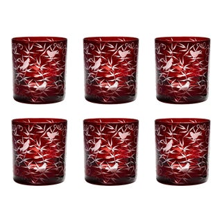 ARTEL Finch Double Old Fashioned Glasses, Set of 6, Red For Sale
