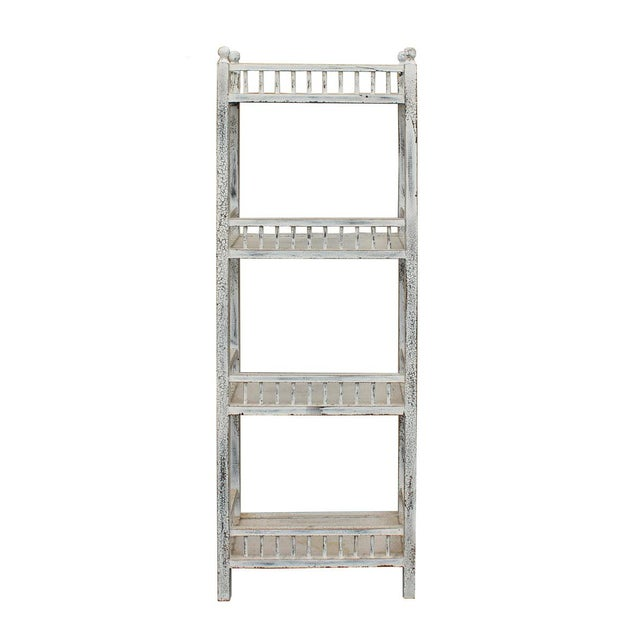 Chinese Distressed Off White Simple Slim Display Bookcase