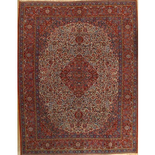 """Antique Persian Kashan Wool Rug - 8'11"""" X 11'7"""" For Sale"""