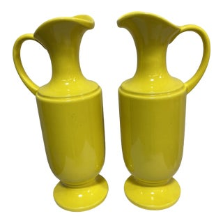 Haeger Canary Yellow Ceramic Pitchers - a Pair For Sale