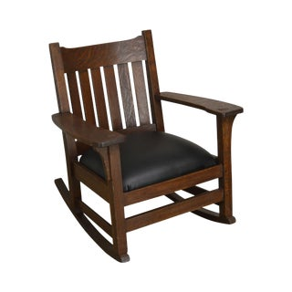 Antique Mission Oak Rocker, Possibly Stickley For Sale