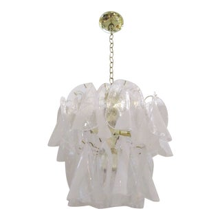 1970s Mazzega Murano Glass White and Clear Tiered Chandelier For Sale