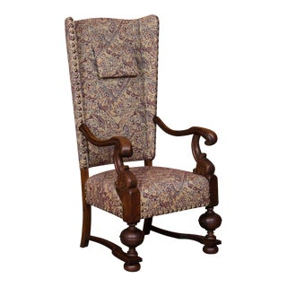 Late 19th Century Antique Danish Baroque Oak Wing Back Chair For Sale