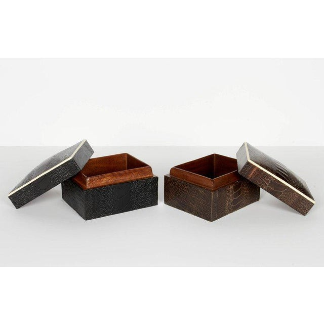 Pair of R & Y Augousti Decorative Boxes in Exotic Ostrich Leather With Bone Inlay For Sale In New York - Image 6 of 13