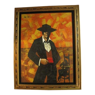 1960s Vintage Aldo James Flamenco Dancer & Guitarist Painting For Sale