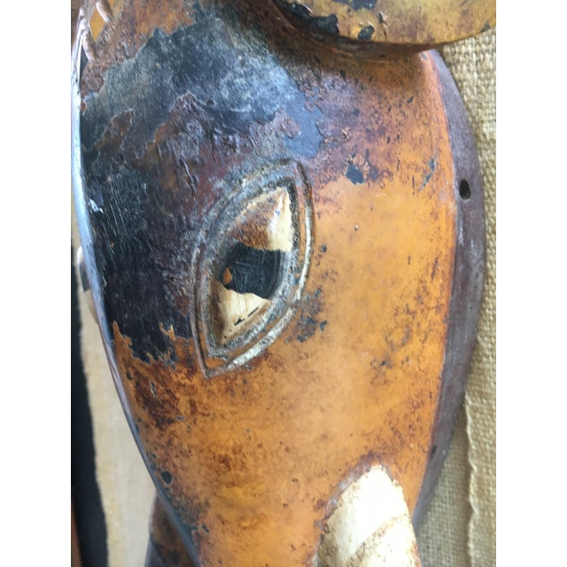 Rustic 1990s African Wood Elephant Mask For Sale - Image 3 of 9