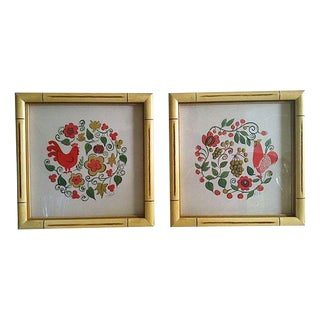 Swedish Folk Art Framed Prints - A Pair For Sale
