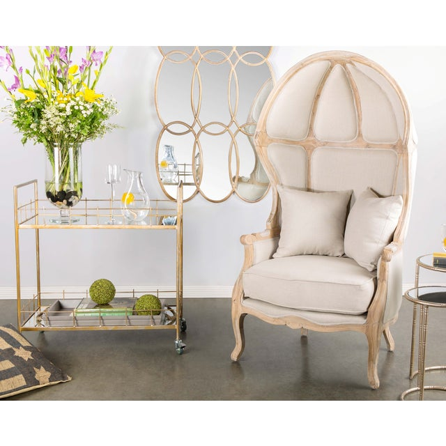 French Country Beige Balloon Accent Chair For Sale - Image 3 of 4
