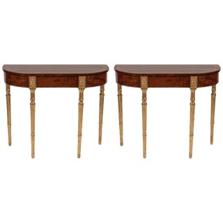 18th Century George III Mahogany and Satinwood Parcel Gilt Console Tables - a Pair For Sale