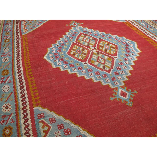 Traditional Antique Oushak Kilim - 12′4″ × 14′10″ For Sale - Image 3 of 8