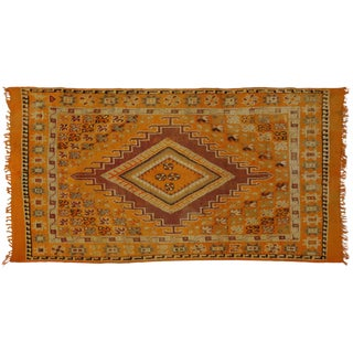 Vintage Berber Orange Moroccan Rug with Modern Style, 5'7x9'10 For Sale