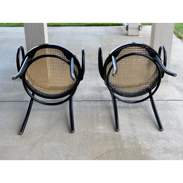 1950s 1950s Vintage Stednig-Thonet Bentwood Cane Parlor Chairs -A Pair For Sale - Image 5 of 10