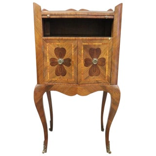 20th Century Italian Louis XV Antique Style Inlay Wood Side Table or Nightstand For Sale