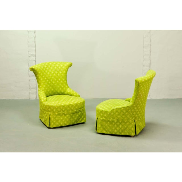 Fine pair of French Design Napoleon III Style Lime Green Boudoir / Slipper Chairs, 1900s For Sale - Image 6 of 12