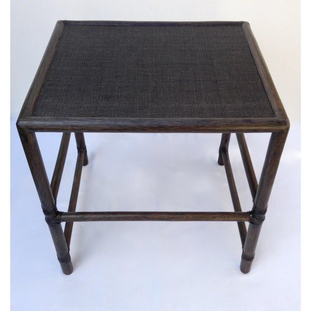 McGuire Leather Strapped Rattan & Cane Side Table For Sale In West Palm - Image 6 of 11