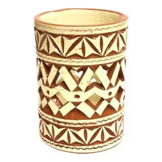 Moroccan Hand Painted White Ceramic Tealight Cup Holder For Sale