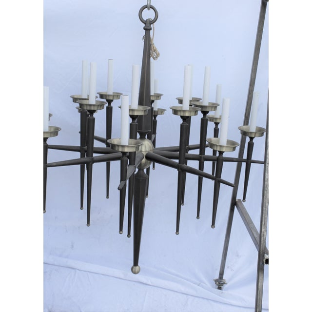 Mid Century Modern Brass Chandelier Solid Brass Bronze Patina For Sale - Image 9 of 11