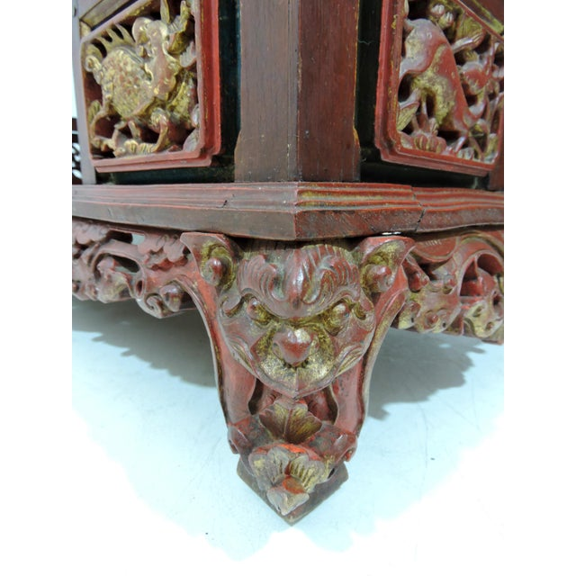 Giltwood 20th Century Ornate Asian Red & Gold Carved Console Table, Thai 'Spirit House' For Sale - Image 7 of 10