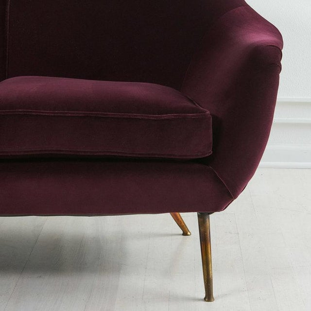 1960s Italian 1960's Curved Loveseat Sofa For Sale - Image 5 of 7