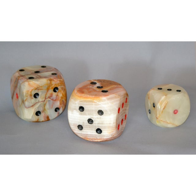 Oversized Mid-Century Modern Handcrafted Marble & Onyx Dice Sculptures - Set of 3 For Sale - Image 13 of 13