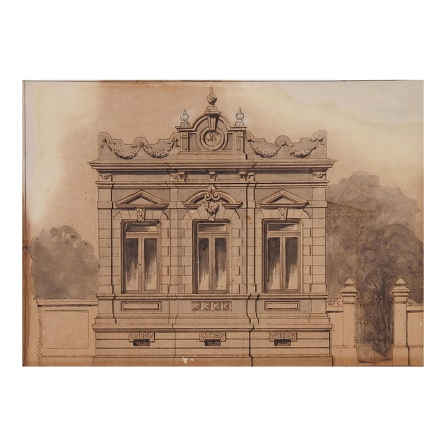 Architectural Rendering, C. 1900 Watercolor Painting For Sale