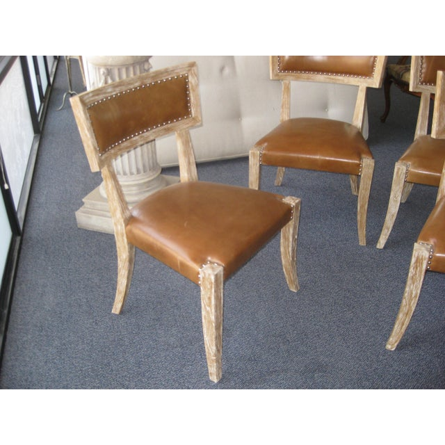 Klismos Style Chairs With Leather Seats - Set of 4 - Image 9 of 9