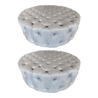 Pair of Large Flavor Custom Originals Modern Tufted Ottomans