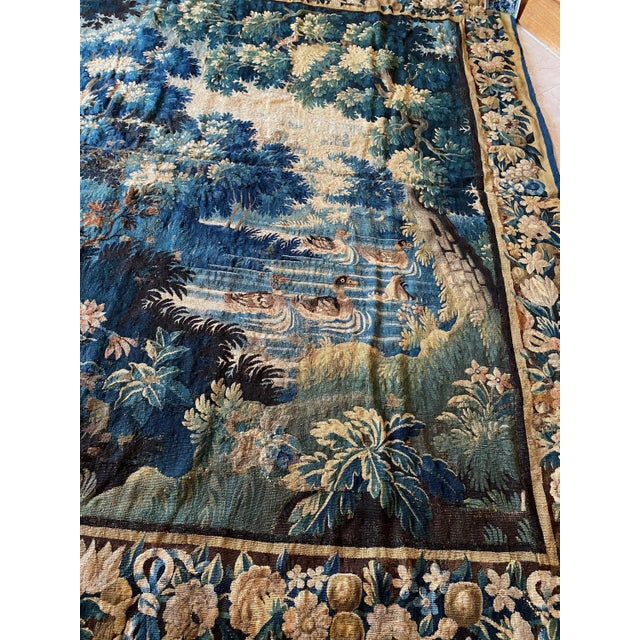 Antique Square 17th Century Flemish Verdure Landscape with Birds Tapestry For Sale In New York - Image 6 of 10