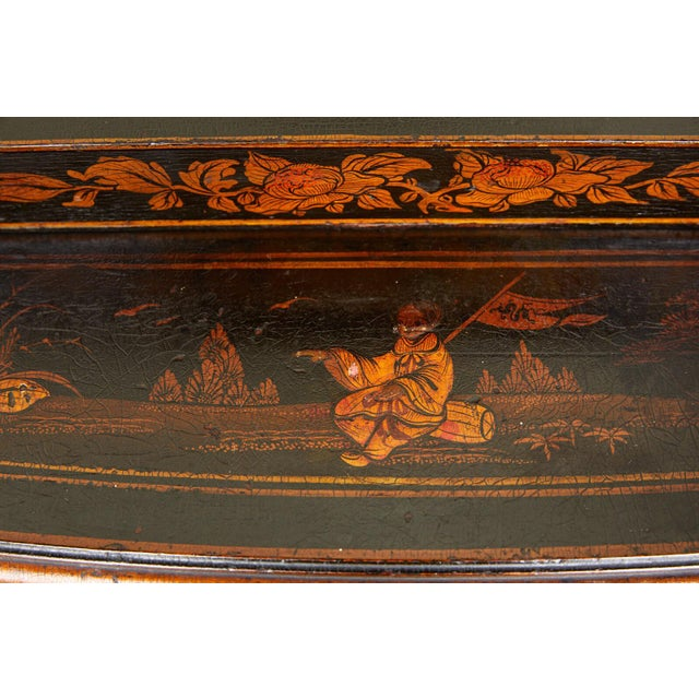 19th Century 19th Century Regency Ebonized Chinoiserie Writing Table For Sale - Image 5 of 11